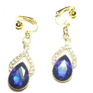 "1.5"" GP Navy Blue RS CO Dangle Earrings"